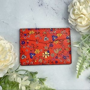 Tory Burch Leather Red Floral Pattern Card Case